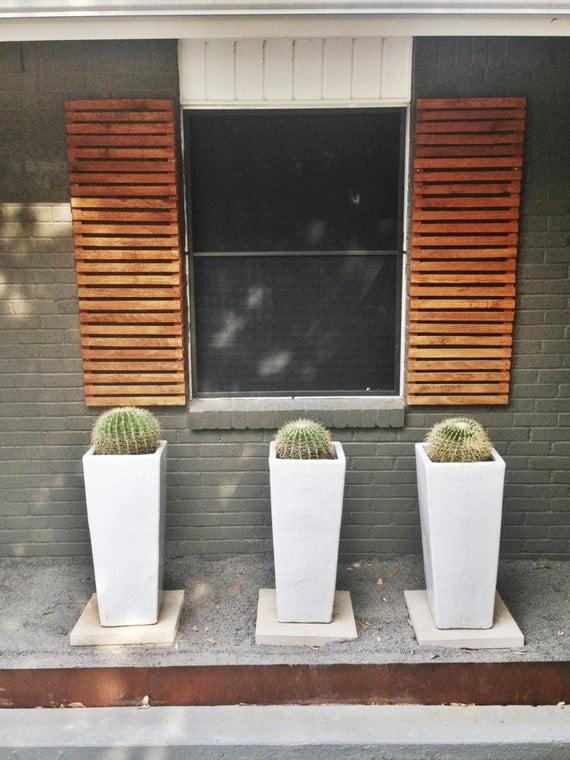 Items Similar To Modern Wood Slat House Shutters pair On