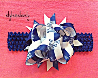LA Dodger Baby Girl Crocheted Bow Headband