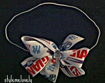 New York Giants Baby Girl Bow Elastic Headband