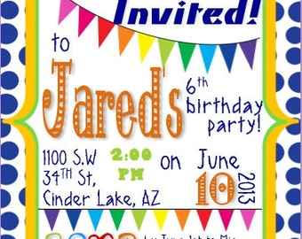 Colorful Birthday Invitation Customizable Template for boy and girl