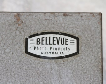 Bellevue photo products metal storage box with lid and carry handle.