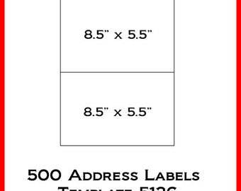 Laser ink jet labels 250 sheets 8 1 2 x 5 1 2 avery for Avery 6870 template