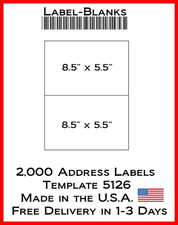 Laser ink jet labels 1000 sheets 8 1 2quot x 5 1 2 for Ebay shipping label template