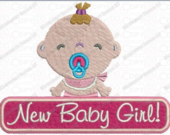 New Baby Girl Embroidery Design in 4x4 and 5x7 Sizes