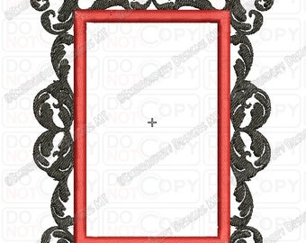 Fancy Damask Rectangle Frame 2 Full Stitch Embroidery Design in 3x3 4x4 and 5x7 Sizes