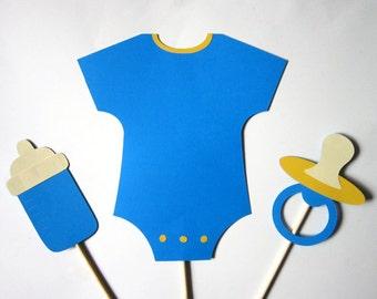 Blue Baby Boy Shower Centerpiece Sticks - Onesie, baby bottle, paci