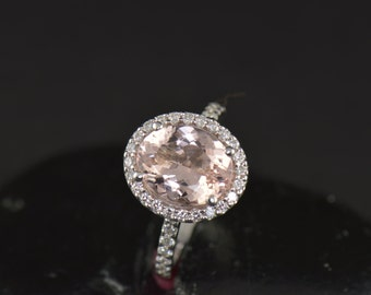 Rebecca - Morganite & Diamond Engagement Ring in White Gold, Oval Center in Diamond Halo and Prong Set Band, Fit Flush Design, Free Shipping