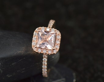 Abigail - Morganite & Diamond Engagement Ring in Rose Gold, Princess Cut in Square Halo, Pave Set Diamond Band, Free Shipping