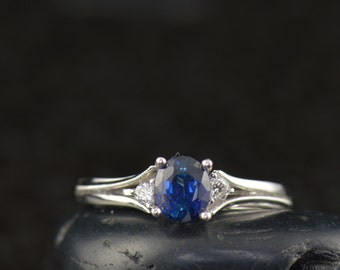 Sapphire and Diamond 3-Stone Engagement Ring in White Gold, Oval Cut Sapphire with Round Brilliant Cut Accents and Milgrain, Iris
