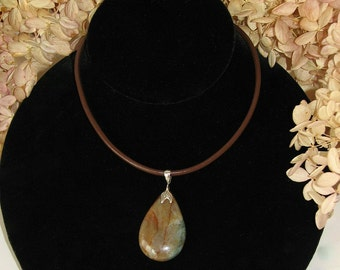 Fancy Jasper and Sterling Silver Necklace