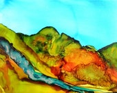 Digital Download painted landscape alcohol ink art original # 119