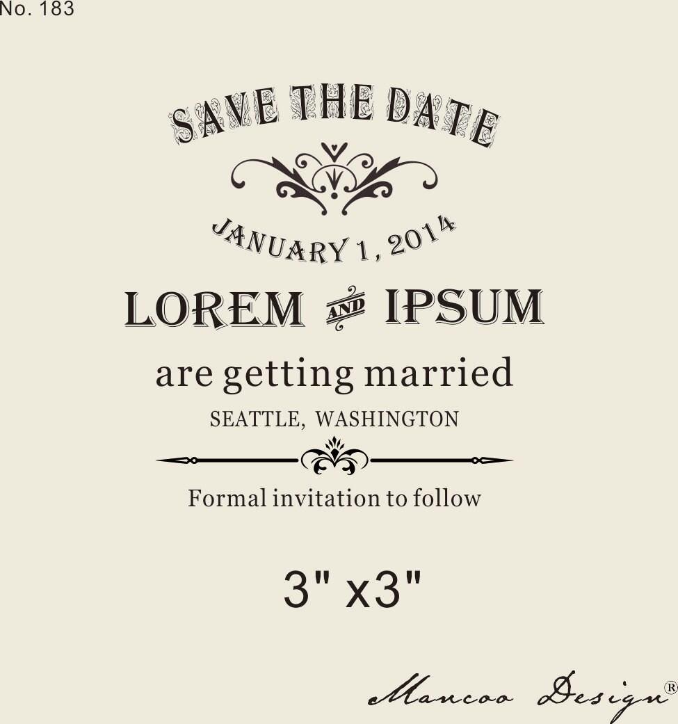 Custom Rubber Stamp 3x3 Wedding Invitation