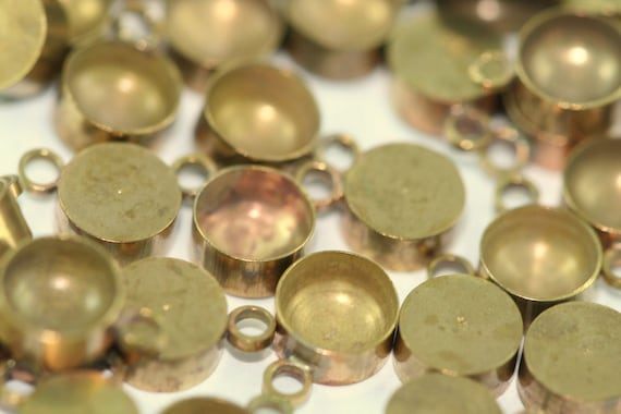20 PCS Raw Brass 6 mm Pendant finding Setting for Drop Gemstone Findings