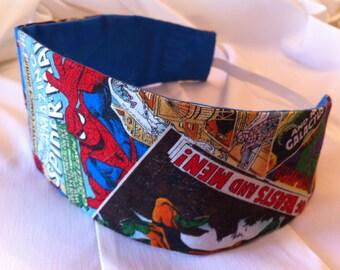 Marvel Avengers Reversible Fabric Headband, Superhero, Comic Book, Thor, Iron Man, Hulk, Captain America, Spiderman, Wolverine, X-Men