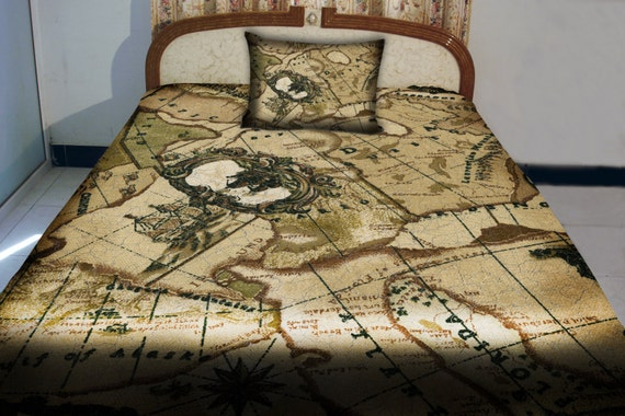 Items similar to Nautical map print quilt cover world map quilt map bedding s