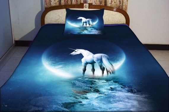 Blue unicorn duvet cover unicorn bedding set both by tbedding