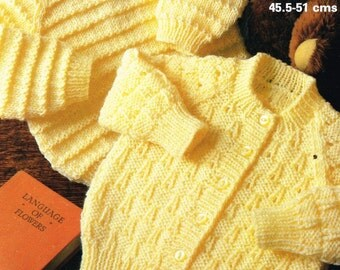 Marriner 1991 two designs baby cardigans vintage knitting pattern PDF instant download