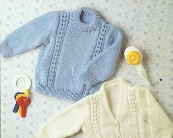 Peter Gregory 3131 baby cardigan and jumper  vintage knitting pattern PDF instant download