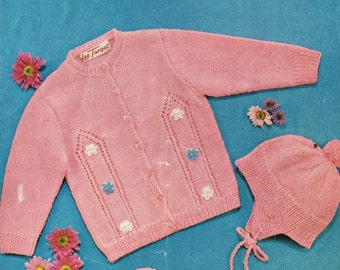 Lee Target 6694 baby cardigan vintage knitting pattern PDF
