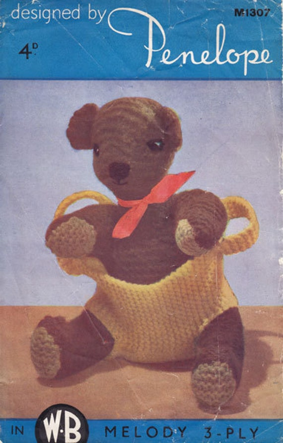 Penelope 1307 vintage toy knitting pattern bear in bag PDF