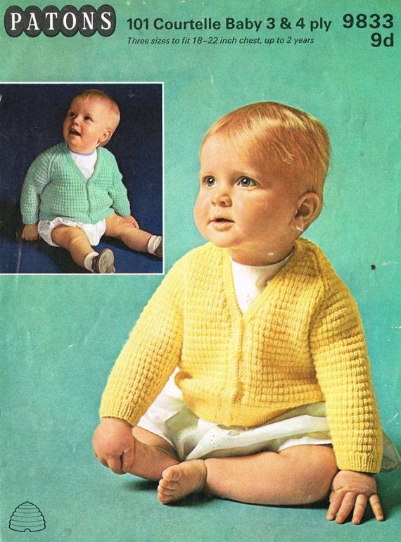 Girls Free Knitting Patterns : Patons 9833 baby cardigan vintage knitting pattern PDF