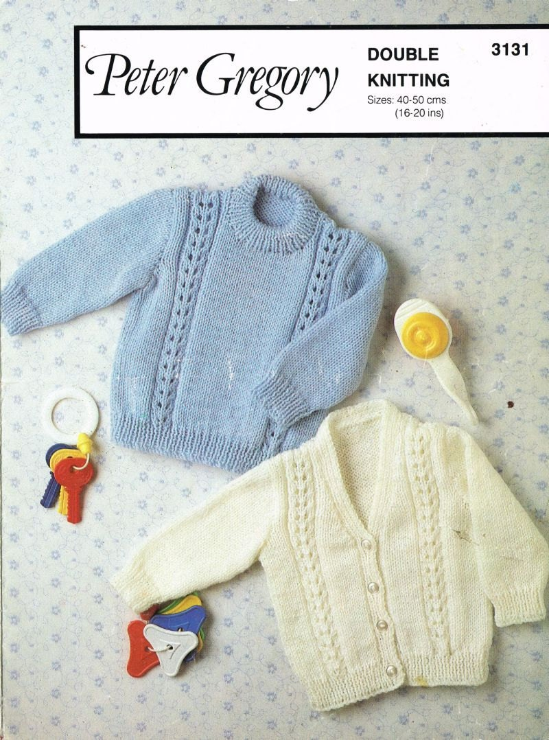 Knitting Pattern For Newborn Jumper : Peter Gregory 3131 baby cardigan and jumper vintage knitting