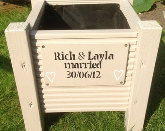 Personalised Wedding Day, Anniversary Gift. Wooden Garden Planters