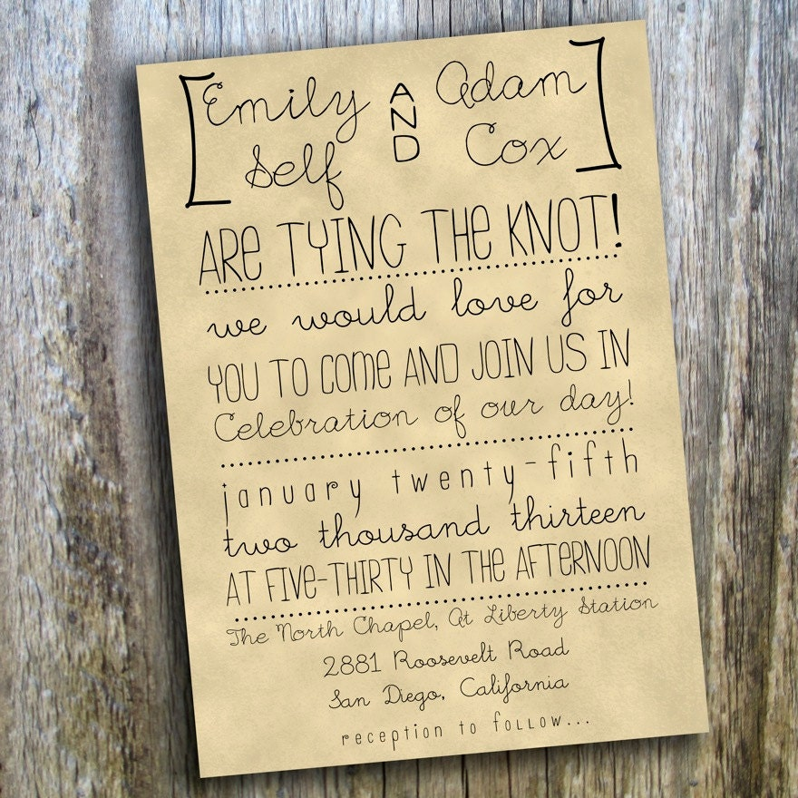 Printable Wedding Invitation // Hand Drawn, Rustic, Casual ...