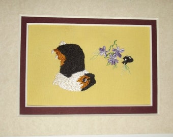 Sheltie completed needlepoint with tri color Shetland Sheepdog
