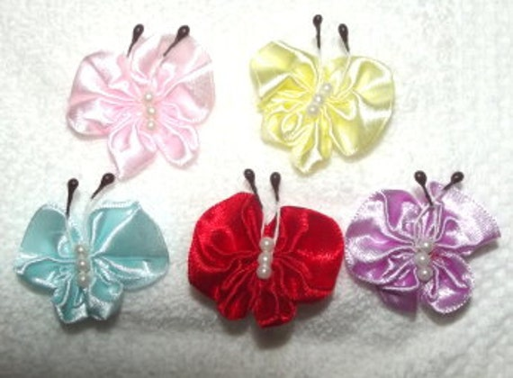 Satin butterfly appliques embellishments with tiny pearls