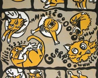 Cat Comic  linocut print