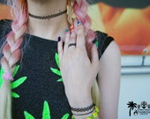 The 90s tattoo choker, bracelet & ring set
