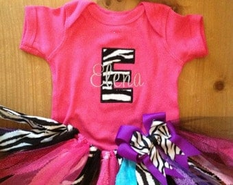 Pink, Purple, Turquoise, and Zebra Scrap Fabric Tutu Outfit
