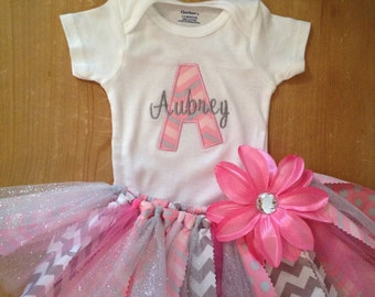 Pink and Grey Chevron Scrap Fabric Tutu Outfit