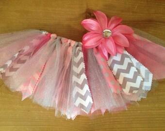 Pink and Grey Chevron Scrap Fabric Tutu