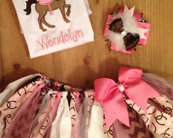 Pink and Brown Horse Cowgirl Scrap Fabric Tutu Outfit