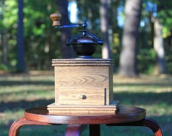 Handmade wooden manual coffee grinder