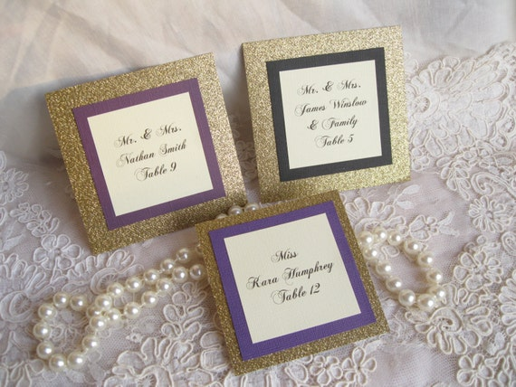 Gold Glitter Flat Place Cards Set of 50 Name Cards Escort