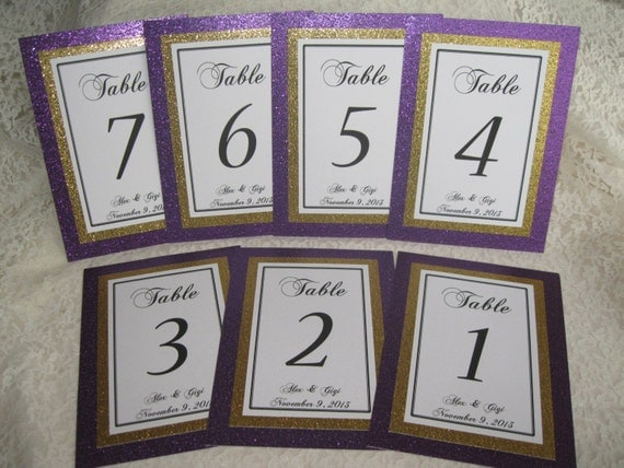 Purple & Gold Glitter Wedding Table Numbers Set of 10 Personalized Bridal Shower Anniversary Party Customized Color 074