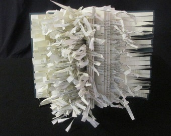 Altered Books Art Sculpture-Eruption-Green