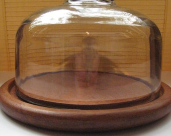 Server, Cheese, Dolphin, Teakwood with Glass Dome
