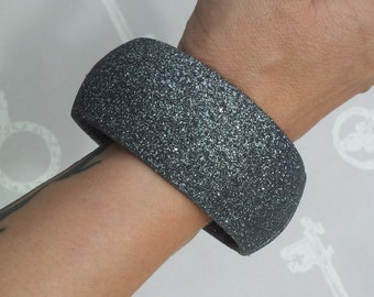 Vintage Silver Glitter Fabric Covered Bangle