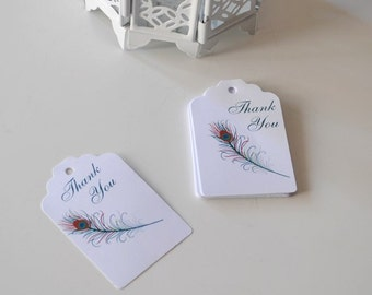 Thank you gift tag Wedding Favor Tags Peacock Tags Wedding favor tag set of 30 Wedding gift tag