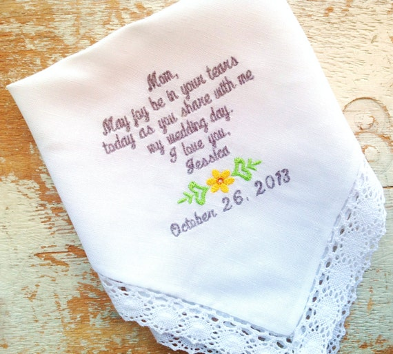 embroidered wedding handkerchief monogrammed custom mom bride