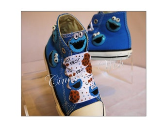 Cookie monster shoes / customised converse / boys converse / blue converse / sesame street / muppets