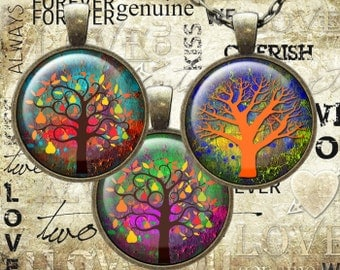 Digital Collage circle images Sheet 1 inch 1.25 inch 1.5inch size color  tree Elements, Instant   Download(C004)
