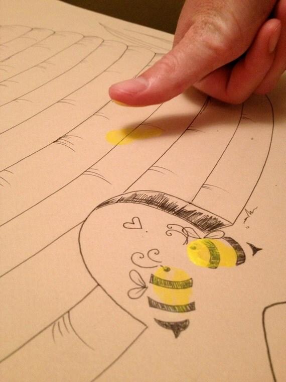 hnliche artikel wie bienenkorb mit bienen fingerabdruck g stebuch auf etsy. Black Bedroom Furniture Sets. Home Design Ideas
