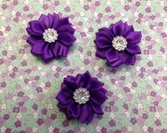 "1.5"" Purple Mini Satin Flowers  with Rhinestone Center - 3 Pieces-Baby Headband-Applique-Clippie-Girl"