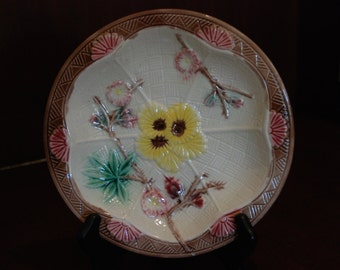 Antique Majolica Cherry Blossom Bowl