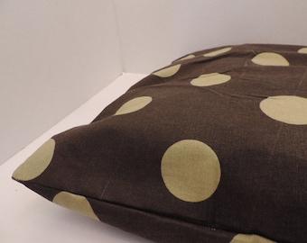 "1 Polka dot print pet bed cover Dog Duvet fits 1 standard sz pillow (19x25"") Green Brown"
